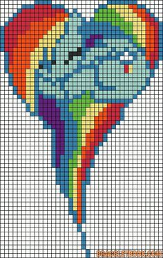 MLP Rainbow Dash heart perler bead pattern... Could be used for rainbow loom.
