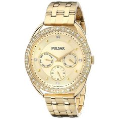 Pulsar Women's PP6178 Multi-Function Crystal Gold Tone Stainless Steel Watch