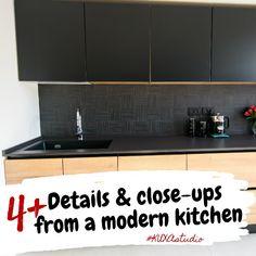 #kitchendetails #kitchencloseups #islandconfiguration #modernkitchen #kitchendesign #kitchenfurniture #islandkitchen #matteblackkitchen #woodaccents #kitchenconfiguration #DEKTONworktop #kitchenideas #KUXAstudio #KUXA #KUXAkitchen #bucatariemoderna #bucatarie Flat Screen, Kitchen Cabinets, Furniture, Studio, Design, Home Decor, Blood Plasma, Kitchen Maid Cabinets, Flatscreen