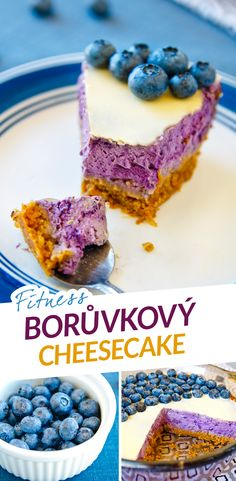 Fitness borůvkový cheesecake bez cukru - fitness borůvkový koláč bez cukru - fitness blueberry cheesecake, blueberries, cake - zdravý recept, healthy recipe, sugarfree, by Bajola Sweet Recipes, Healthy Recipes, Cereal, Cheesecake, Food And Drink, Low Carb, Healthy Eating, Sweets, Baking
