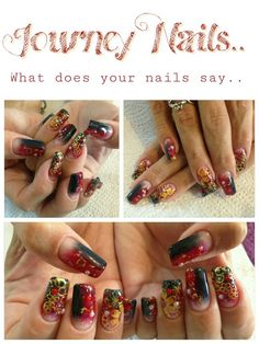 Glam nails.. Add some sparkle, gems and pearls for a fun look this Autumn. Nail art