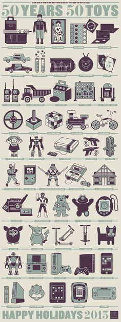 50 Years 50 Toys, a screen printed poster. This infographic shows some of the most popular toys from the last 50 years. Popular Christmas Gifts, Christmas Toys, Holiday Gifts, Christmas History, Illustrator, Web Design, Icon Design, Design Trends, Bulletins