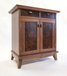 Solid wood hand carfted walnut burl night stand or side table Bespoke Furniture, Fine Furniture, Wood Furniture, Furniture Design, Furniture Ideas, Woodworking Furniture Plans, Cool Woodworking Projects, Wood Projects, Walnut Cabinets