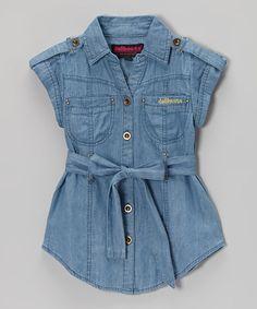 Love this Dark Wash Chambray Short-Sleeve Button-Up Tunic - Girls on #zulily! #zulilyfinds