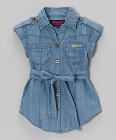 This Dark Wash Chambray Short-Sleeve Button-Up Tunic - Girls by Dollhouse is perfect! #zulilyfinds