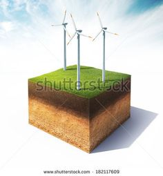 3d illustration of cross section of ground with wind turbine isolated on white - stock photo