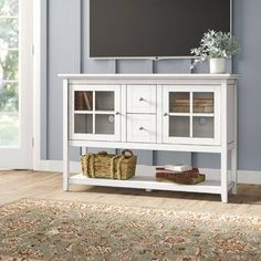 Beachcrest Home Greggs TV Stand for TVs up to 55 inches Color: Bright White Open Shelving, Adjustable Shelving, Shelves, Tv Stand Showcase, Tv Stand Set, Solid Wood Tv Stand, Wood Drawers, Shaker Style, Cool Furniture