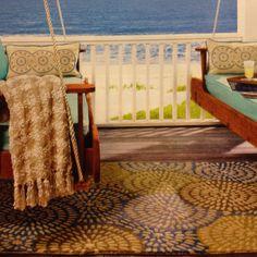 Coastal Living, beautiful outdoor rug and swings
