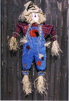 INSPIRATION: scarecrow made from a child's flannel shirt and jean overalls