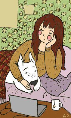 Marta the girl and Vesnushka (freckle) the Bull Terrier. Illustration by the Russian artist Daria Khmelevtseva.
