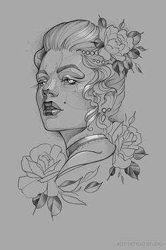 Cool Art Drawings, Tattoo Drawings, Body Art Tattoos, Pin Up Tattoos, Tattoo Indio, Luna Tattoo, Face Tattoos For Women, Flower Sketches, Chicano Art