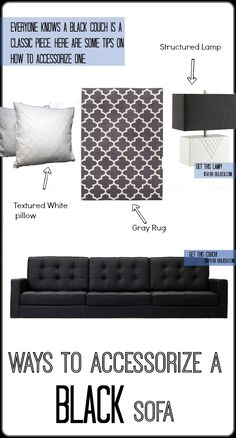 Textured White Pillow - The crisp white is a great contrast against the soft leather onyx black. We chose a textured pillow because it would really pop against the smooth leather surface. Black Sofa Decor, Black Couches, Black Leather Sofas, Condo Living Room, Apartment Living, Living Room Decor Inspiration, Dressing, Leather Furniture, Trendy Home