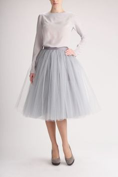 Grey tutu tulle skirt, gray petticoat long, high quality tutu skirts. €120.00, via Etsy.