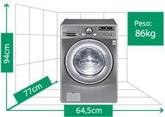 Walmart 28jul15 Lava e Seca 12kg Noblige 6 Motion Painel Touch WD1252RW | Peso: 86kg | Altura: 94cm | Largura: 64,5cm | Profundidade: 77cm