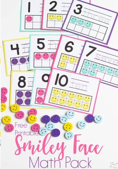 Do you love Dollar Spot mini erasers? This smiley face mini eraser activity pack for preschoolers is full of great math activities! Counting, sorting, matching, patterns and more! via @lifeovercs