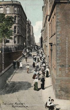 Lace workers, Stoney Street &, to the right, Hollowstone Nottingham Lace, Nottingham City, Old Pictures, Old Photos, Kingdom Of Great Britain, Republic Of Ireland, History Photos, Vintage Photographs, Family History