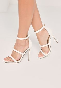 820b3d1369ff Missguided - White Three Strap Barely There Heeled Sandals Strap Heels