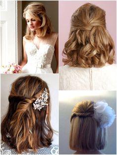 Half Up Half Down Short Hair, Wedding Hairstyles Half Up Half Down, Bridal Hair Half Up Medium, Short Wedding Hair, Wedding Hair And Makeup, Short Bride, Bridesmaid Hair Half Up Short, Short Prom, Bridal Makeup