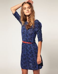 ASOS Belted Dress in Carousel Horse Print