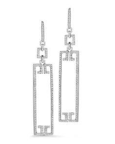 Patras Sliver 18k Open Frame Rectangle Diamond Earrings