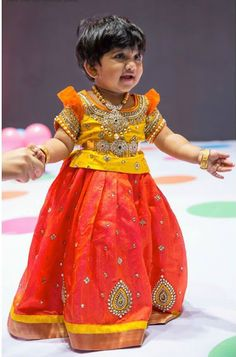 Lovely Kids Lehengas by Golden Threads ~ Celebrity Sarees, Designer Sarees, Bridal Sarees, Latest Blouse Designs 2014 Kids Party Wear Dresses, Kids Dress Wear, Dresses Kids Girl, Kids Wear, Kids Outfits, Baby Dresses, Children Wear, Precious Children, Pageant Dresses