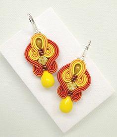 Orange Earrings Soutache Earrings Orange Dangle Earrings Yellow Drop Earrings Chandelier Earrings Yellow Earrings Summer Earrings Statement