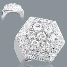 Diamond Rings 18K Mens Designer Large Diamond Ring 6ct