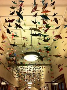 idea of hanging paper cranes came from a Bravo TV show - it's trendy for wedding receptions.
