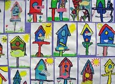 Bird houses- primary and secondary colors