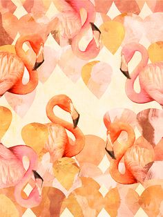Flamingo Print from Cozamia. Pink and flamingos and guitar pick-esque shapes! Very cool.