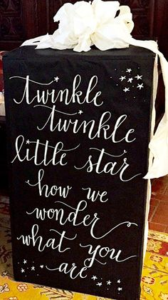 "Classy Gender Reveal Party Ideas | Halfpint Design - ""Twinkle twinkle little star, how I wonder what you are?"" I love this lyric for a baby shower or gender reveal. Definitely a classic!"