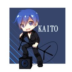 "rebochan: ""ikerens: "" VOCALOID落书 by ★Anna ※ Permission to reprint was granted by the artist. Do not repost without permission. Please support the artist by rating, bookmarking, and commenting on their work! "" He looks so ""innocent. Hatsune Miku Outfits, Vocaloid Kaito, Kaito Shion, Miku Chan, Black Rock Shooter, Okikagu, Looks Cool, All Art, Chibi"