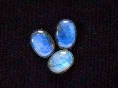 3 Lot Oval Blue Labradorite Gemstones, AAA Transparent Labradorite Cabochon, 15 20 MM Ring Bracelet Pendant Making Labradorite Cabachon Lot
