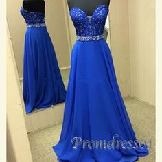 Beautiful royal blue chiffon lace sweetheart dress for prom 2016, prom dresses long #coniefox #2016prom