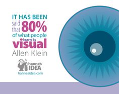 It has been said that 80% of what people learn is visual. - Allen Klein