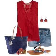 """Casual Summer Flip-Flops"" by tufootballmom on Polyvore"