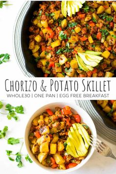 Nothing better than a breakfast skillet! This Whole30 breakfast recipe is made with chorizo, potatoes and veggies. It's the perfect egg-free paleo breakfast. This healthy meal is ready to go in under 20 minutes and is the perfect meal prep dish! #whole30recipes #whole30mealprep #breakfastskillet #paleo #paleorecipes Chorizo Breakfast, Breakfast Skillet, Whole 30 Breakfast, Paleo Breakfast, Chorizo Recipes, Paleo Recipes, Real Food Recipes, Chorizo And Potato, Running Food