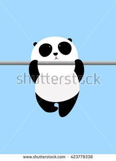 Vector Illustration: A cute cartoon giant panda is doing pull-up on a horizontal bar - stock vector Cartoon Boy, Cute Cartoon, Panda Store, Bar Stock, Bear Wallpaper, Do Exercise, Logo Branding, Exercises, Disney Characters
