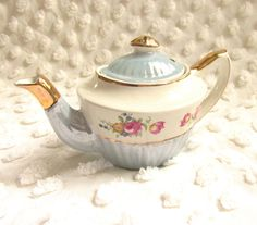 Vintage Mini Gibson Blue Luster Teapot Pink Rose Gilded 1 Cup