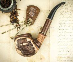 """Pipa que fuma """"nave"""" + herramienta de limpieza, madera tallada la pipa."""