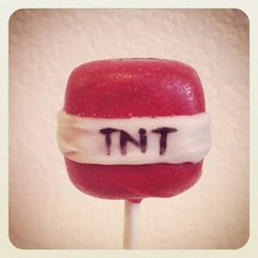 Minecraft TNT cakepops. Don't worry, they won't explode... Or will they???do they sell them at Starbucks lets go see mom
