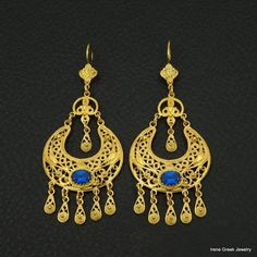 SAPPHIRE CZ FILGREE STYLE 925 STERLING SILVER 22K GOLD PLATED GREEK ART EARRINGS #IreneGreekJewelry #Chandelier