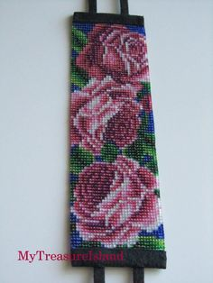 Items similar to Beaded Bracelet Roses Bead Loom Roses Bracelet Wide Cuff Floral Adjustable Bracelet on Etsy Bead Loom Bracelets, Beaded Bracelet Patterns, Bead Loom Patterns, Beading Patterns, Flower Patterns, Seed Bead Flowers, Beaded Flowers, Armband Rose, Beading Techniques