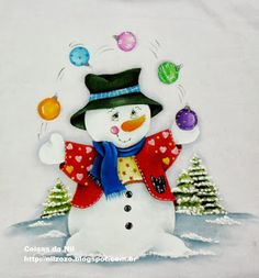 painting on fabric snowman juggling with christmas balls