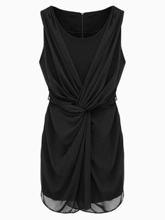 Love this Dress! Love the Design and the Draping! Super Slimming Cross Wrap Chiffon Sleeveless Dress