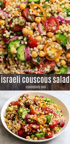 Israeli Couscous Salad, a delicious and a refreshing salad made with Israeli Cou. - Israeli Couscous Salad, a delicious and a refreshing salad made with Israeli Couscous, chickpeas, t - Israeli Couscous Salad, Couscous Salad Recipes, Healthy Salad Recipes, Vegetarian Recipes, Cooking Recipes, Bulgur Salad, Shrimp With Couscous Recipe, Couscous Salad Dressing, Pasta Salad