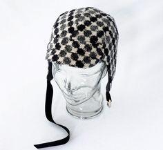 Geometric Dots Wool Aviator Hat in Black Gray and by rocksandsalt