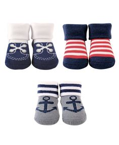 Luvable Friends Novelty Fashion Socks Booties Gift Set, (Newborn Baby Boys) – Baby For look here Baby Girl Socks, Boys Socks, Baby Boy Newborn, Baby Boys, Newborn Shoes, Nautical Socks, Nautical Anchor, Nautical Nursery, Baby Vision