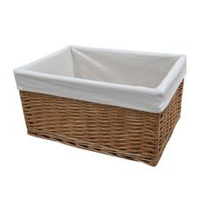 Windermere Rectangular Wicker Lined Storage Basket Willow Extra Large to Small Lined Wicker Baskets, Wicker Baskets With Handles, Rattan Basket, Storage Baskets With Lids, Basket Willow, Above Kitchen Cabinets, Basket Tray, Under Bed Storage, Windermere