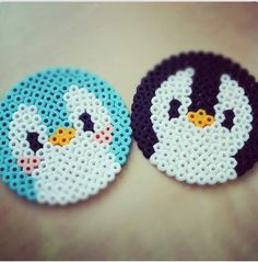 perler hama beads penguin or bird Perler Bead Designs, Hama Beads Design, Pearler Bead Patterns, Diy Perler Beads, Perler Bead Art, Perler Patterns, Pearler Beads, Fuse Beads, Hama Beads Kawaii